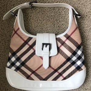 Burberry White Leather Canvas Hobo Bag